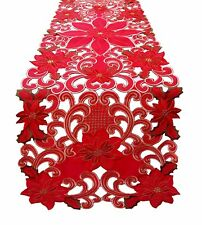 "54"" x 16"" Fashions Fancy Flowers Embroidered Cutwork Spring Table Runner RD/GN"