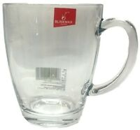 NEW Set of 6 Large Clear Glass Coffee Tea Mug With Handle 10.5cmH