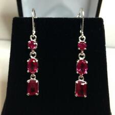 925 Sterling Silver Natural Certified Handmade 16 Ct Ruby stone Antique Earrings