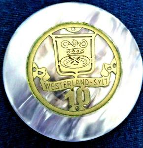 SYLT Spielbank CASINO Westerland, sehr seltener 10 er Jeton, ca. 40 Jahre alt !