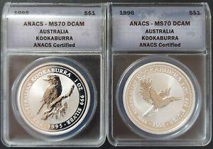 Australia 1995 & '96 Kookaburra .999 One Oz. ANACS MS70 DCAM