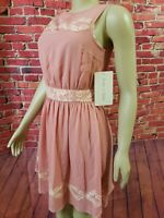 Modcloth Doe & Rae Dress Sz S W/Lace Details Lined, pink Sleeveless. NEW!