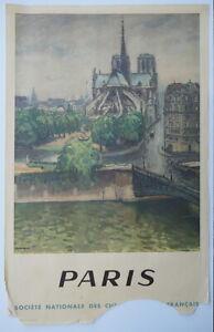 Paris Originalplakat der SNCF von Marquet Albert 1950