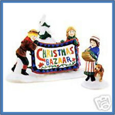 Dept 56 Ne Christmas Bazaar Sign New! Set/2