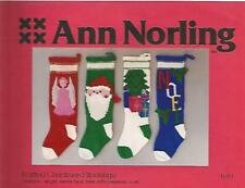 Knitted Christmas Stockings Knitting Pattern Angel Santa Tree Ann Norling #1018