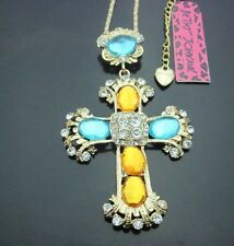 Betsey Johnson Necklace Mosaic Gold Cross Blue Yellow Stones Religious