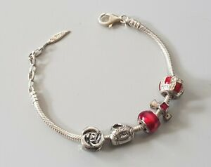 Genuine 'Amore & Baci' Solid 925 Silver Charm Bracelet With 5 x Genuine Charms
