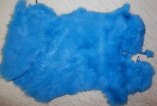 "BRIGHT BLUE Rabbit Fur Pelt Hide  8""x12""    #651"