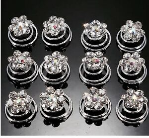 Hair Jewels.springs.coils.spirals.AB /diamante. Pack of 12.bridal.brides.party.