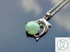 Aventurine Dolphin Natural Gemstone Pendant Necklace 50cm Healing Stone Chakra