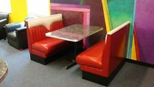 2 New Hot Rod Diner Booths plus Metal Edge Table with base - Restaurant
