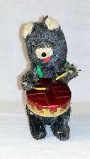 Vintage Wind Up Dancing & Drummer Black Fur Bear Tin Toy Made In Japan