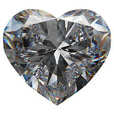 AAAAA Rated Heart Faceted Bright Glacier White Cubic Zirconia (4x4mm-12x12mm)