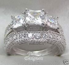 2.56ct AntiquePrincess 3-stone Wedding Ring Set! Size 4