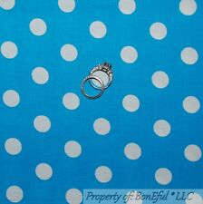 BonEful Fabric FQ Cotton Quilt Aqua Blue White Lg Polka Dot Berenstain Bear Baby