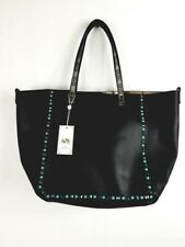 Urban Expressions Vegan Studded  Leather Shoulder Bag Tote Turquoise Accents