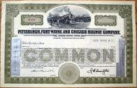 1920 Railroad Stock Certificate: 'Pittsburgh, Fort Wayne & Chicago Railway Co.'