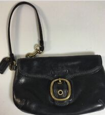 COACH  Black Leather And Brass Hardware Flap Demi Wristlet New MSRP $158