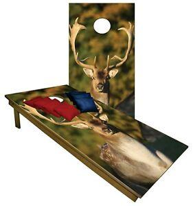 CORNHOLE BEANBAG TOSS GAME w Bags Game Boards Deer Hunters Camo Woods Set