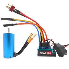 3670 1900KV/4P Sensorless Brushless Motor w/120A Brushless ESC for 1/10 RC Car