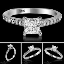 F/SI Engagement Ring 0.79 CT Princess Cut 18k White Gold Bridal Enhanced Diamond