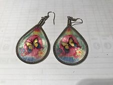 HANDCRAFTED THREAD EARRINGS  DROP BUTTERFLY  PINK CIRCLE 4CM
