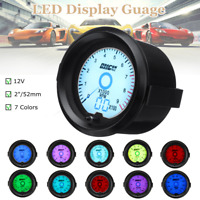 Universal Car 2'' 52mm 7Color Oil Press Pressure Gauge Digital LED Light Display