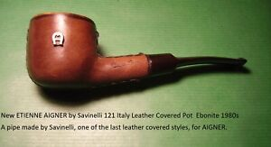 New ETIENNE AIGNER by Savinelli 121 Italy Leather Covered Pot Ebonite 1980s#1009