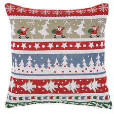Clayre & Eef Kissen mit Füllung 45x45cm XMAS Tannen, Weihnachten bunt / 037