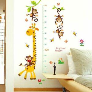 Wall Sticker Vinyl Cartoon Animal Height Measuring Ruler Nursery Removable Decor