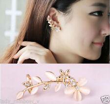 1 Pair Women Fashion Leaf Crystal Rhinestone Ear Clip Cuff Opal Earring Ear Stud