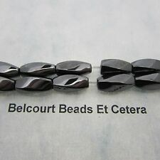 1 Strand Magnetic Hematite Black Twisted Beads 12x6mm - Very Strong Beads