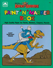 Dino Riders Coloring Book Paint N Marker by Golden Books 1988, PB Mostly Unused