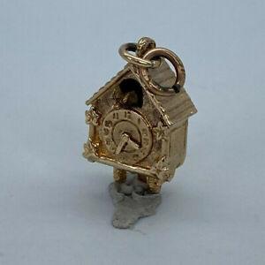 Vintage 9ct Gold Hallmarked Cuckoo Clock Charm.  Goldmine Jewellers.