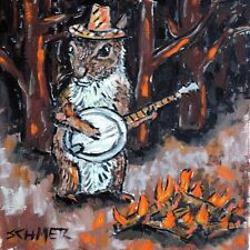 Banjo art Squirrel Print on Modern ceramic Tile coaster gift Jschmetz folk art