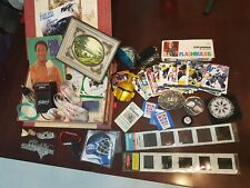 Vtg Collectible Junk Drawer Lot  Cards Advertising Art Slides Bulbs