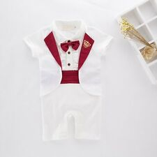 Baby Boy Wedding Shower Christening White Tuxedo Suit Outfit Cloth NEWBORN 0-18M