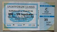 Orig. Ticket 1984 DDR Jugoslawien Yugoslavia Eintrittskarte Fussball WM Quali