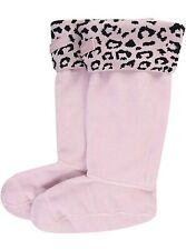Medium Hunter Original Snow Leopard Kids Boot Liners Socks - Haze Pink - M 11-13