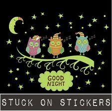 Cute Owls On Branch Glow In The Dark Kids Wall Stickers Luminous Removable Decal