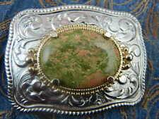 New Handcrafted au Royaume-Uni en métal argenté boucle de ceinture unakite pierre Western Goth Cowboy