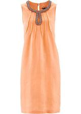 Premium Leinenkleid mit Perlen in Aprikose - Gr. 48 - Q6522 - 973845