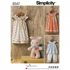 Simplicity Baby Easy Sewing Pattern 8347 Dress, Top, Capris & Stuffed Bun...
