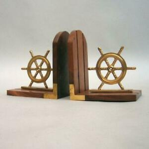 NAUTICAL MARINE Navigation Style SHIP WHEEL BOOKEND Wood and Brass WITH DEFECTS