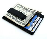 Genuine  Leather Men's Money Clip ID Card Front Pocket Ultra Thin Cowhide Wallet