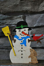 Snowman with Cardinal Wood Puzzle Toy Amish Made in the Usa Figurine