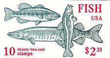 U.S. BKLT OF 10 SCOTT #BK154 1986 22ct FISH  MINT  P#11111 OR #22222 BELOW FACE