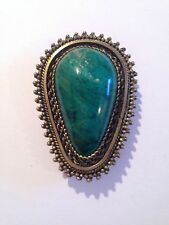 Vintage Israel 925 Sterling Silver Brooch Pendant With Green Stone