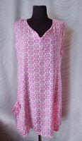🔻 Masai  Tunic Top   Size L White Pink  Geometric Print Sleeveless