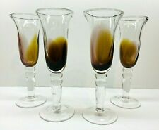 """Hand Blown Set Of 4 Champagne Flutes ,Clear Glass With Amber & Purple 9"""" Tall"""